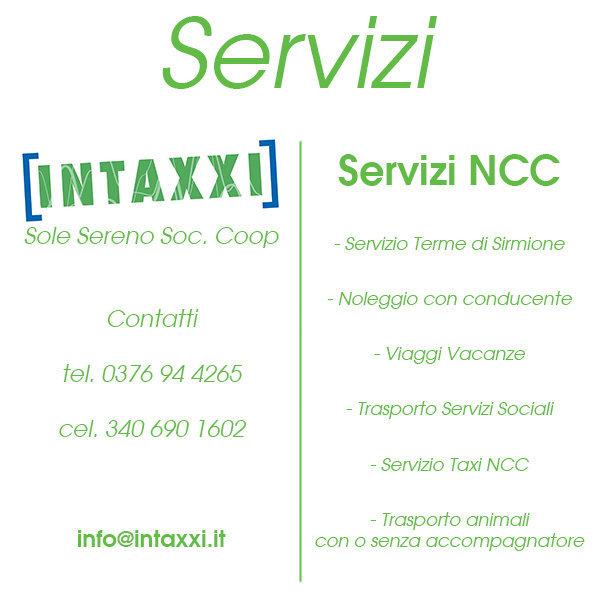 Servizi NCC - Intaxxi - Noleggio con conducente - Taxi castiglione
